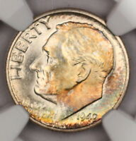 1949-D ROOSEVELT DIME NGC MINT STATE 67 FT FULL TORCH RAINBOW TONED COLORFUL TONING 12M