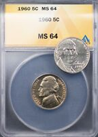 1960 JEFFERSON NICKEL 5C ANACS MINT STATE 64 - MELLOW YELLOW TONE