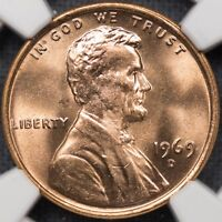 1969-D 1C NGC MINT STATE 65 RD - RED LINCOLN MEMORIAL CENT