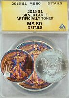 2015 AMERICAN SILVER EAGLE DOLLAR ASE ANACS MINT STATE 60 BEAUTIFUL COLOR TONED GEM