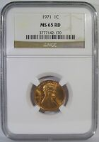 1971 LINCOLN CENT NGC MS 65 RD RED LUSTROUS GEM  SOLID MS65 COPPER PENNY