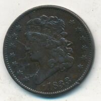 1833 CLASSIC HEAD HALF CENT-LIGHTLY CIRCULATED HALF CENT-SHIPS FREE INV:2