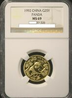1992 SMALL DATE DATE CHINA PANDA GOLD 1/4 OZ G25Y  - NGC MINT STATE 69/NCS CONSERVED