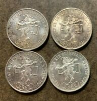 FOUR 1968 MEXICO 25 PESO LARGE SILVER COINS   OLYMPICS   KM4