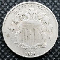 1876 SHIELD NICKEL |  FINE | PROBLEM-FREE COIN