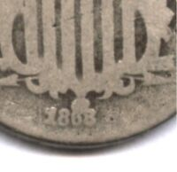 1868 SHIELD NICKEL  LEFT MOST DATE PUNCH  IN ENTIRE SERIES  DISCO COIN