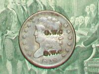 1828 1/2 CENT LY COUNTER STAMPED ON THE OBV ONLY 606,000  MINTED