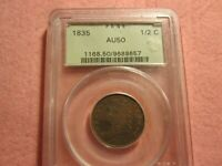 1835 CLASSIC HEAD HALF CENT PCGS GRADED AU50 1/2 C OGH HOLDER