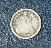 1858 SEATED LIBERTY SILVER DIME FINE TO VF DETAILS