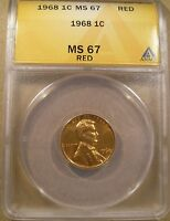 1968 LINCOLN CENT ANACS MS 67 RED TOP POP NONE GRADED HIGHER MINT LUSTER 10 PICS
