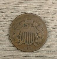 1864 TWO CENT PIECE VG-F CIVIL WAR DATE CHOICE