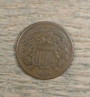 1864 TWO CENT PIECE VF LARGE MOTTO CHOICE CIVIL WAR DATE