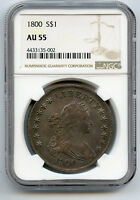 1800 $1 SILVER DOLLAR DRAPED BUST NGC AU 55 UNDERLYING LUSTRE, LY TONED