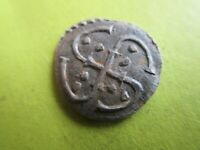 MEDIEVEL SILVER COIN.MEROVING COIN.DENIER WITH SWASTIKA AND