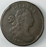 1803 DRAPED BUST LARGE CENT COIN 1C - S-256