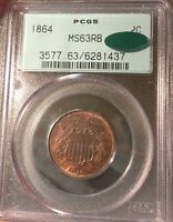 1864 OGH PCGS MS3RB TWO CENT PIECE CIVIL WAR DATE