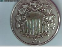 1869 U.S. SHIELD NICKEL5 CENT COIN NO RAYS