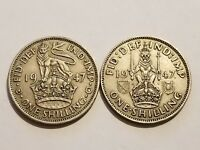 1947 ENGLAND   1 SHILLING   GEORGE VI   ENGLISH & SCOTTISH CREST  2 COINS