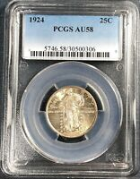 1924 STANDING LIBERTY QUARTER  PCGS AU58  CHEAPER THAN MS/BU