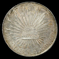 MEXICO 1887 ZS FZ 8 REALES GEF/AUNC    WORLD SILVER COIN