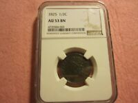 1825 CLASSIC HEAD HALF CENT NGC GRADED AU53 BETTER DATE 1/2 C