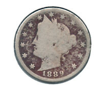 EARLY YEAR 1889 V- NICKEL  BUY IT NOW SHIPS FREE IN USA