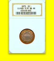 1873 NGC PR66 RB 600 MINTED  NON-DOCTORED  NEARLY FLAWLESS  TWO CENT PIECE 2C