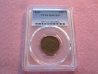 1853 BRAIDED HAIR HALF CENT PCGS GRADED MINT STATE 62 1/2C