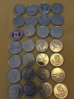 LOT OF 28 CANADA COMMEMORATIVE QUARTERS   MOSTLY BU 25C COIN