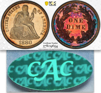 1880 PCGS MS63 CAC MINTAGE 36 000   LOWEST 1880 2019 PROOFLIKE SEATED DIME 10C
