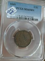 1849 PCGS MINT STATE 65 BN BRAIDED HAIR HALF CENT 1/2C - TOP POP - FINEST KNOWN