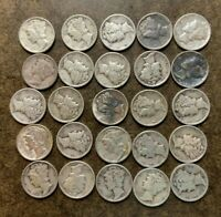 25  90  SILVER MERCURY DIMES MIXED DATES 1/2 ROLL LOT   NO
