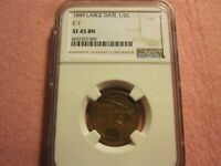 1849 BRAIDED HAIR HALF CENT NGC GRADED EXTRA FINE 45 1/2C