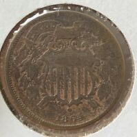 1864 TWO 2 CENT PIECE- VG/FINE, SMALL MOTTO