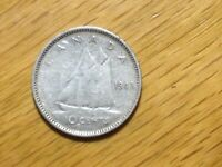 1947 MAPLE LEAF CANADA 10 CENT  SILVER COIN  CANADIAN