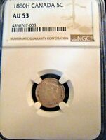 1880 H CANADA 5 CENT SILVER VICTORIA NGC AU 53 NICE