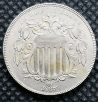 1867 NO RAYS SHIELD NICKEL | ALMOST UNCIRCULATED |  REPUNCHED DATE VARIETY