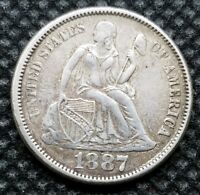 1887 SEATED LIBERTY DIME | CHOICE EXTRA FINE | CLEAR, STRONG DETAILS