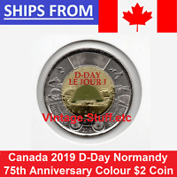 2019 CANADA 75TH ANNIVERSARY D DAY DDAY $2 COLOURED TOONIE WW2 WWII UNC COLOR
