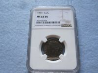 1835 HALF CENT NGC GRADED MINT STATE 64BN 1/2 C CHEAPEST ON EBAY