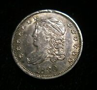 1830 LIBERTY CAPPED BUST SLIVER HALF 1/2 DIME AU ABOUT UNCIRCULATED COIN