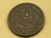 1864 TWO CENT COIN LARGE MOTTO 13