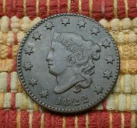 1822 MATRON HEAD LARGE CENT    DESIRABLE YEAR IN PLEASING GRADE