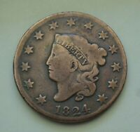 1824 CORONET LARGE CENT    TOUGH DATE, MINTAGE ONLY 1,262,000