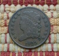 1825 CLASSIC HEAD HALF CENT, VF DETAILS    ONLY 63,000 MINTED