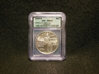1996 S NATIONAL COMMUNITY SERVICE SILVER DOLLAR ICG MINT STATE 69 LOW MINTAGE-23,500