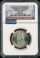 2008-P ANDREW JACKSON DOLLAR NGC MAC MINT STATE 69 SMS PQ FINEST REGISTRY SPOTLESS