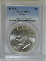 1971-S EISENHOWER SILVER $1 MINT STATE 67 PCGS