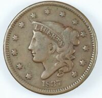1837 CORONET HEAD LARGE CENT - HEAD OF '38 W/ ROTATED DIES