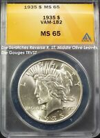 1935 $1 PEACE DOLLAR VAM-1B2 MINT STATE 65 ANACS  R-6 COIN. TOP POP. 1